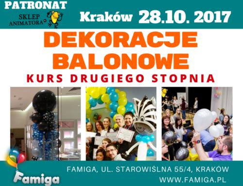 Kurs Dekoracji Balonowych DRUGIEGO STOPNIA – niedziela 18.03.18 Kraków