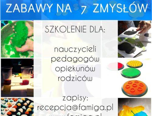 SENSORYKA w pracy z dzieckiem – Zabawy na 7 zmysłów – SZKOLENIE  28.09 Kraków, Poznań, Warszawa